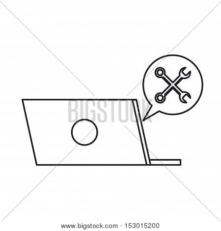 Laptop bubble and wrench icon. Call center technical service and online support theme. Isolated design. Vector illustration
