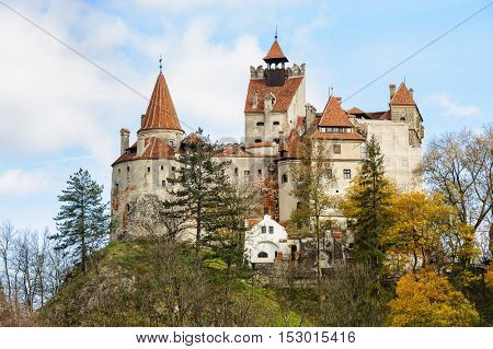 Bran Castle at autumn, Brasov, Romania. Medieval fortress in Transylvania. Also known for the myth of Dracula.