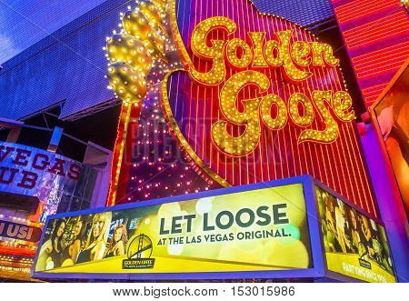 LAS VEGAS - JULY 04 : The golden goose sign at the Fremont Street Experience on July 04 2016 in Las Vegas Nevada. The Fremont Street Experience is a pedestrian mall and attraction in downtown Las Vegas