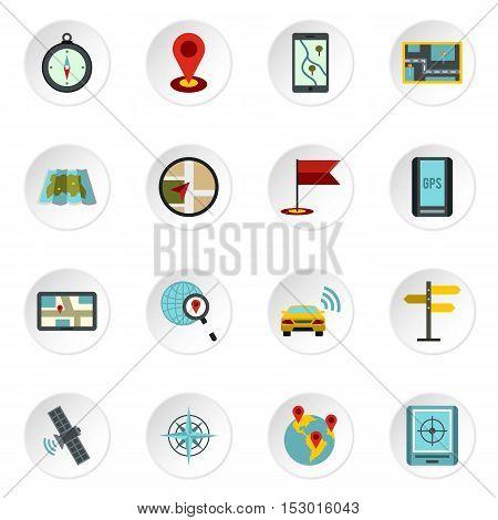Navigation icons set. Flat illustration of 16 navigation vector icons for web