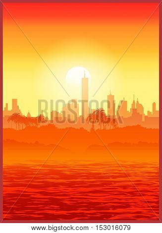Vector illustration of a large southern city at sunset. Seamless horizontally if needed