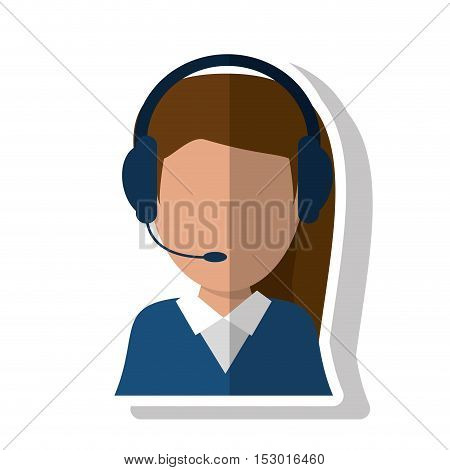 Operator woman icon. Call center technical service and online support theme. Isolated design. Vector illustration