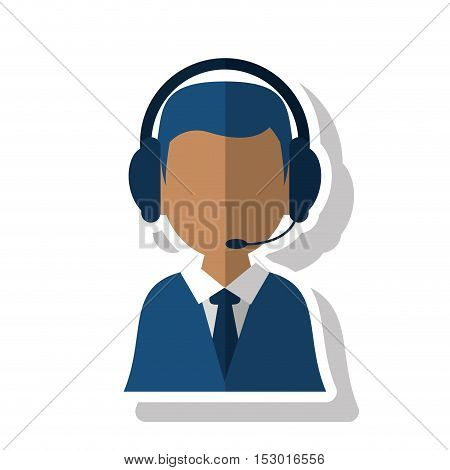 Operator man icon. Call center technical service and online support theme. Isolated design. Vector illustration
