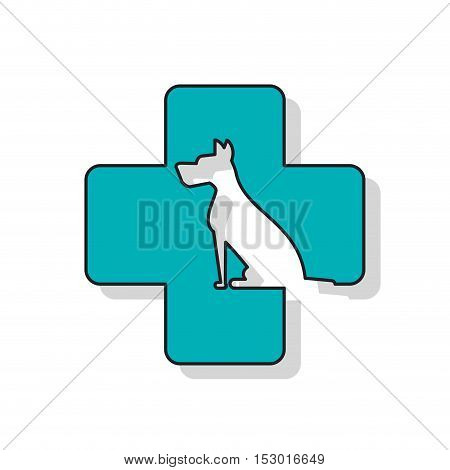 Dog and cross icon. Pet animal domestic and care theme. Isolated design. Vector illustration