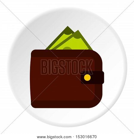 Purse with money icon. Flat illustration of purse with money vector icon for web