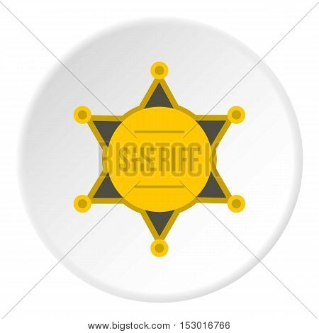 Sheriff badge icon. Flat illustration of sheriff badge vector icon for web