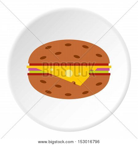 Cheeseburger icon. Flat illustration of cheeseburger vector icon for web