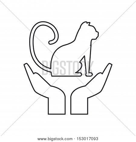 Cat over hands icon. Pet animal domestic and care theme. Isolated design. Vector illustration