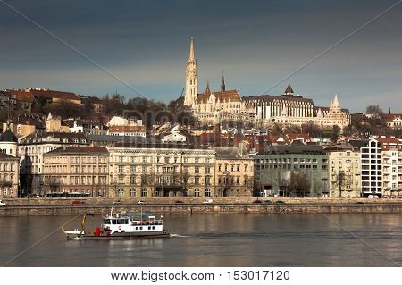 Budapest capital of Hungary the view of Buda with Matthias Church and Hotel Hilton from Danube river