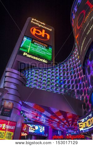 LAS VEGAS - OCT 05 : The Planet Hollywood hotel and Casino on October 05 2016 in Las Vegas. Planet Hollywood has over 2500 rooms and it located on the Las Vegas strip.