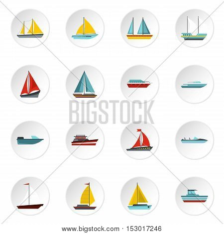 Ship and boat icons set. Flat illustration of ship and boat 16 vector icons for web