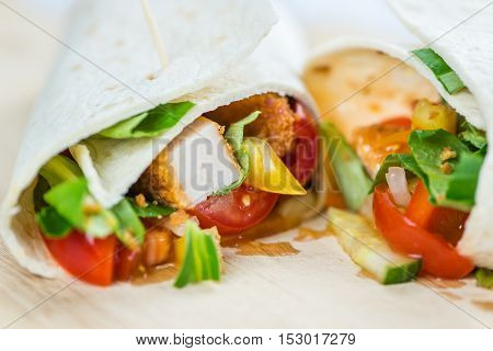 Portion Of Chicken Wraps (selective Focus)