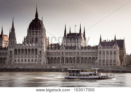Budapest, capital of Hungary, the boat on the Danube and the Parliament