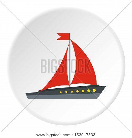 Sailing ship icon. Flat illustration of sailing ship vector icon for web