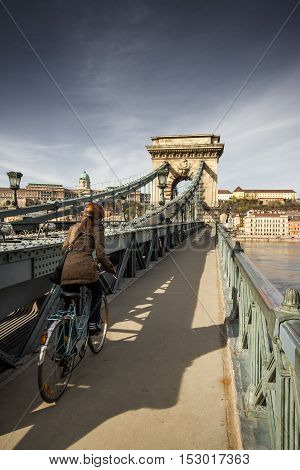 Budapest, capital of Hungary, Chain Bridge with the view of Buda Castle