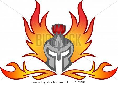 logo illustration spartan helmet flaming fire burn
