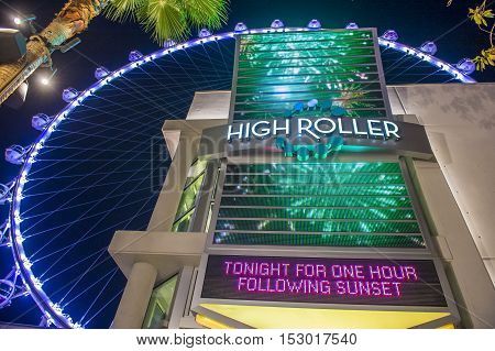 LAS VEGAS - OCT 05 : The Linq Sign on October 05 2016 in Las Vegas. Linq is the shopping and dining area leading up to The High Roller Wheel the world's largest observation wheel