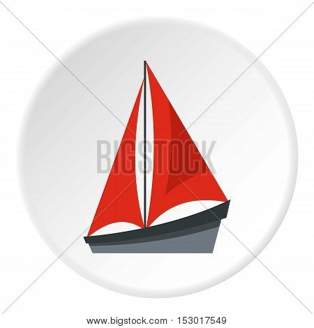 Small yacht icon. Flat illustration of small yacht vector icon for web