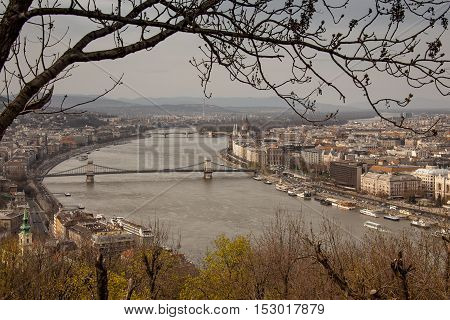 Budapest, capital of Hungary, Panorama of Budapest from Citadel and the Danube river