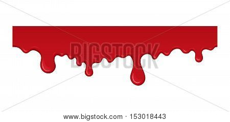Blood drip. Red liquid drop and splash. Paint drips and flowing. Bloody element for halloween design. Abstract vector illustration isolated on white background.
