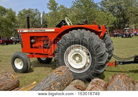 ROLLAG, MINNESOTA, Sept 1. 2016: A restored Allis Chalmers D-21 tractor is displayed at the annual WCSTR farm show in Rollag held each Labor Day weekend where 1000's attend annually