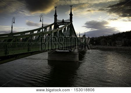 Budapest capital of Hungary Liberty Bridge and Danube