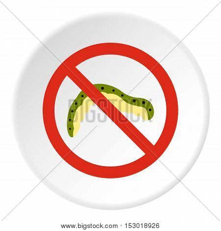 Prohibition sign caterpillar icon. Flat illustration of prohibition sign caterpillar vector icon for web