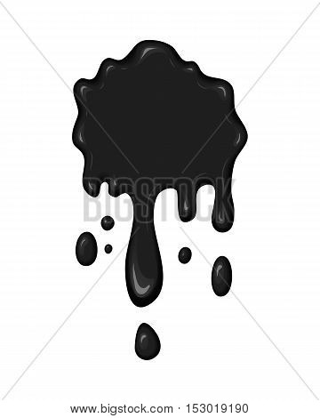 Vector blob of ink or oil. Splattered stain of paint, splash, drop black liquid. Design element for banner. Abstract vector illustration with splatter and blot isolated on white background.