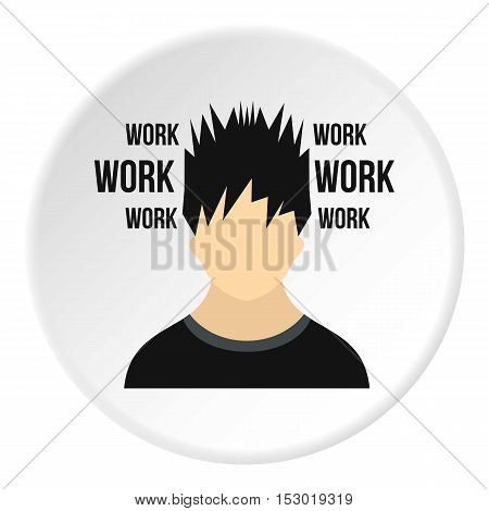 Male avatar and word work icon. Flat illustration of male avatar and word work vector icon for web