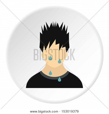 Male avatar sweat icon. Flat illustration of male avatar sweat vector icon for web