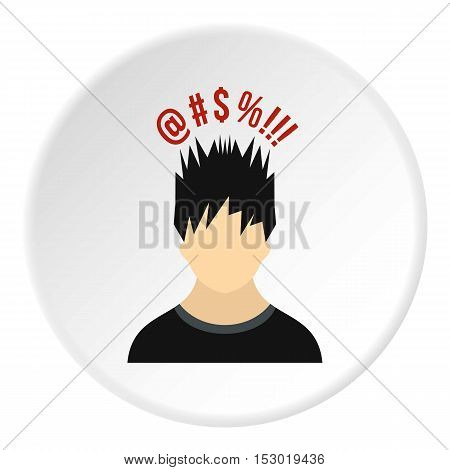 Male avatar and signs icon. Flat illustration of male avatar and signs vector icon for web
