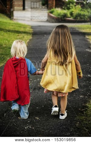 Superheroes Kids Costume Imagination Learning Concept