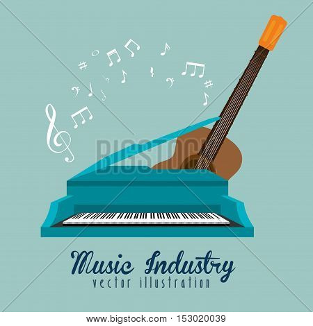 music industry piano guitar and note musical vector illustration eps 10