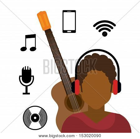 character afro boy headphone wifi music cd vector illustration eps 10