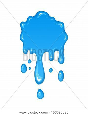 Vector illustration - water drips and flowing. Blob and splash, blot liquid. Blue paint drop. Abstract stain shape isolated on white. Graphic element for banner, sticker.