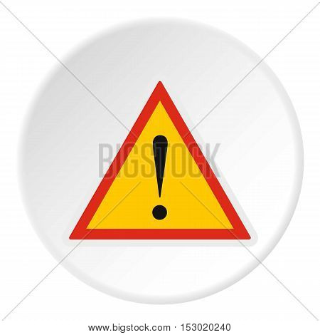 Road sign warning icon. Flat illustration of road sign warning vector icon for web