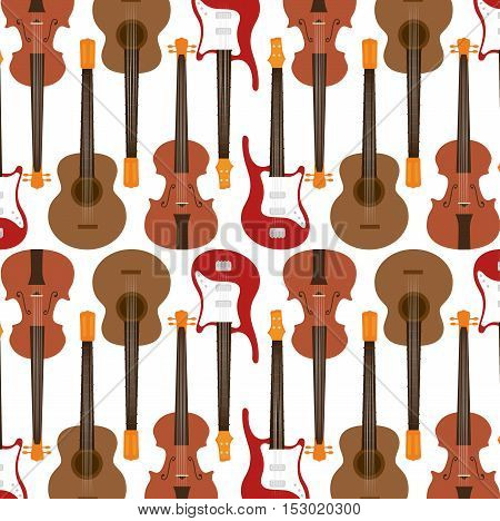 seamless pattern guitar electric traditional vector illustration eps 10