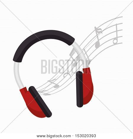headphones note music icon design vector illustration eps 10