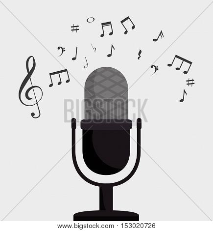 microphone retro clef note music vector illustration eps 10