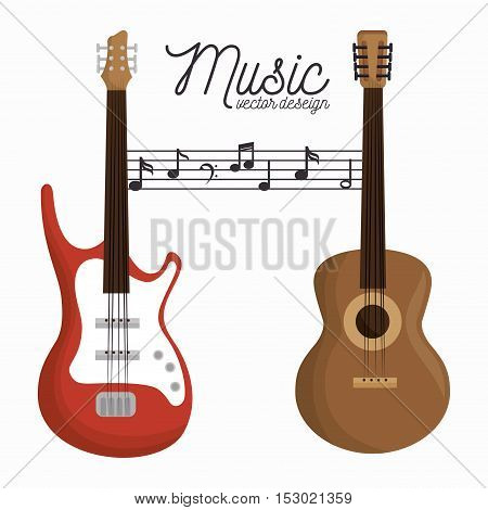 music letter electric guitar and wooden guitar white background vector illustration eps 10