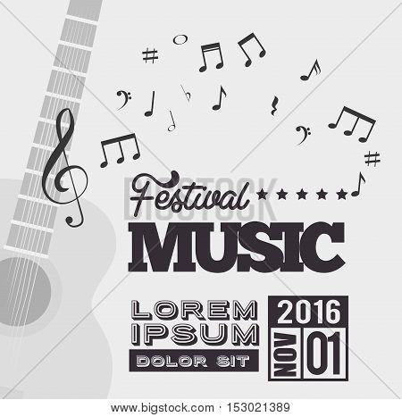 festival music background guitar notes vector illustration eps 10