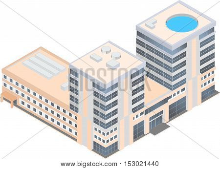 isometric modern business center on a white background eight-story