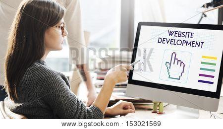 Website Development Links Seo Webinar Cyberspace Concept