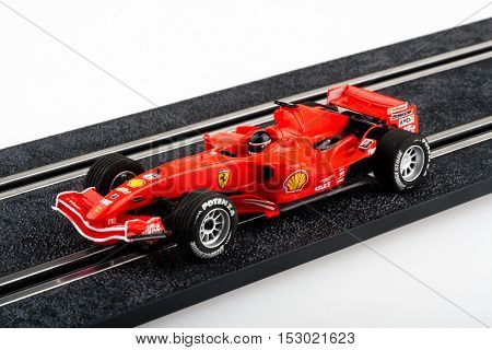 Moscow Russia - Aug 14 2010: Slot car racing track with red formula one car.