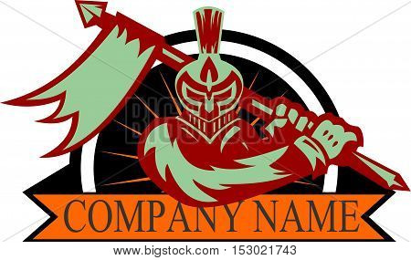 logo illustration spartan knight bring lance with flag war