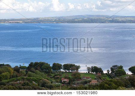 View above Bracciano Lake in Lazio Italy.