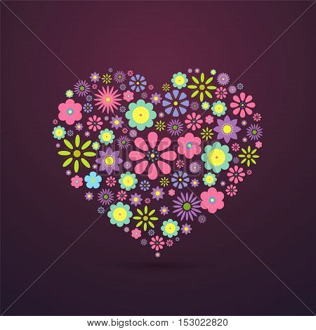 Heart-shaped flower composition,Vector illustration, abstract graphic design.