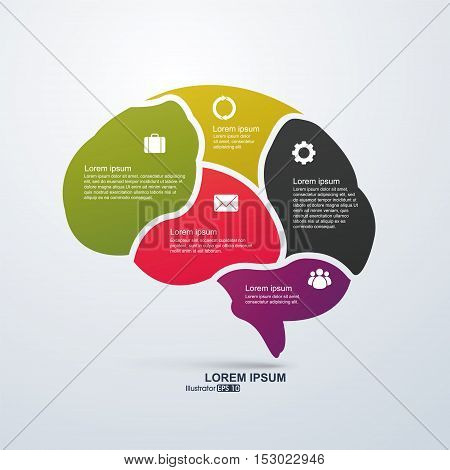 Vector infographics. Brain Abstract background, flat design.