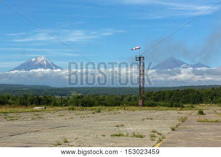 Helipad on the background of volcanos in Petropavlovsk-Kamchatsky.