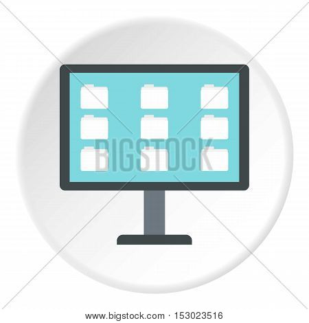 Storing files in computer icon. Flat illustration of storing files in computer vector icon for web